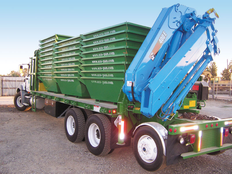 Eco-Pan concrete washout containment pans on truck
