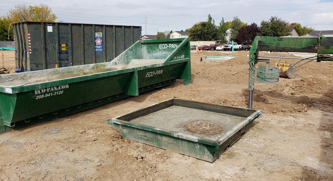 Concrete washout pans on site
